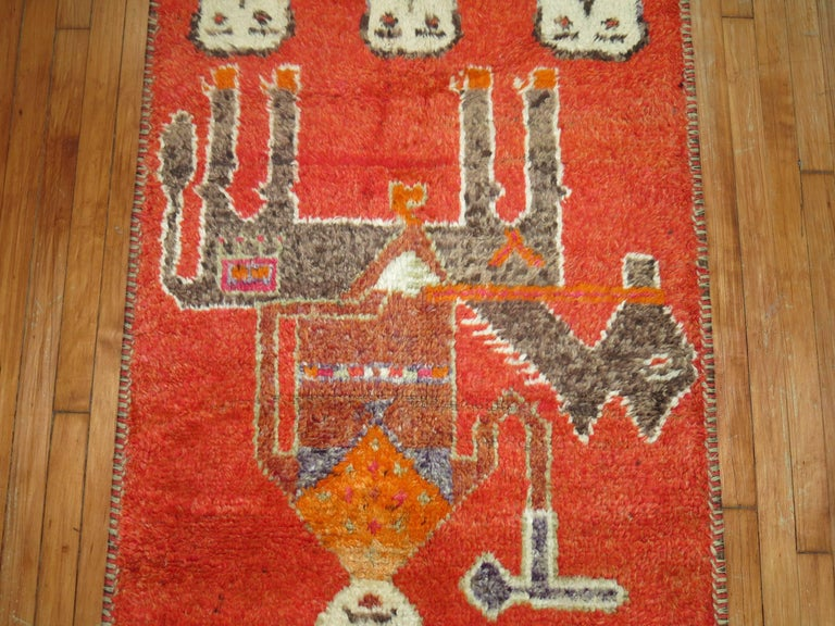 Hand-Woven Pictorial Human Horse Vintage South Persian Runner For Sale