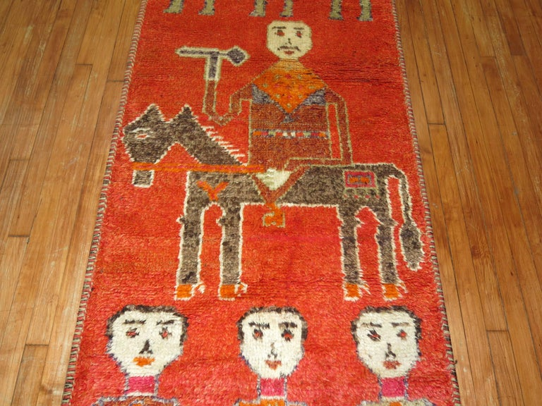 20th Century Pictorial Human Horse Vintage South Persian Runner For Sale