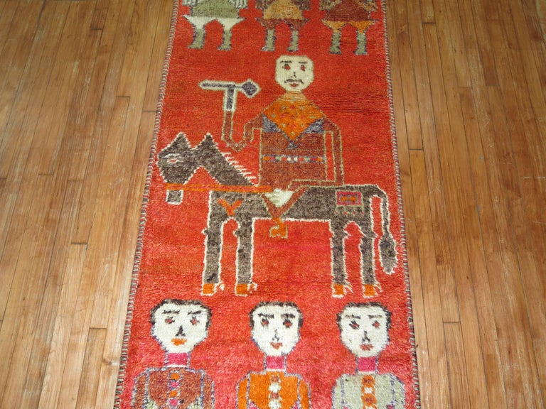 Wool Pictorial Human Horse Vintage South Persian Runner For Sale