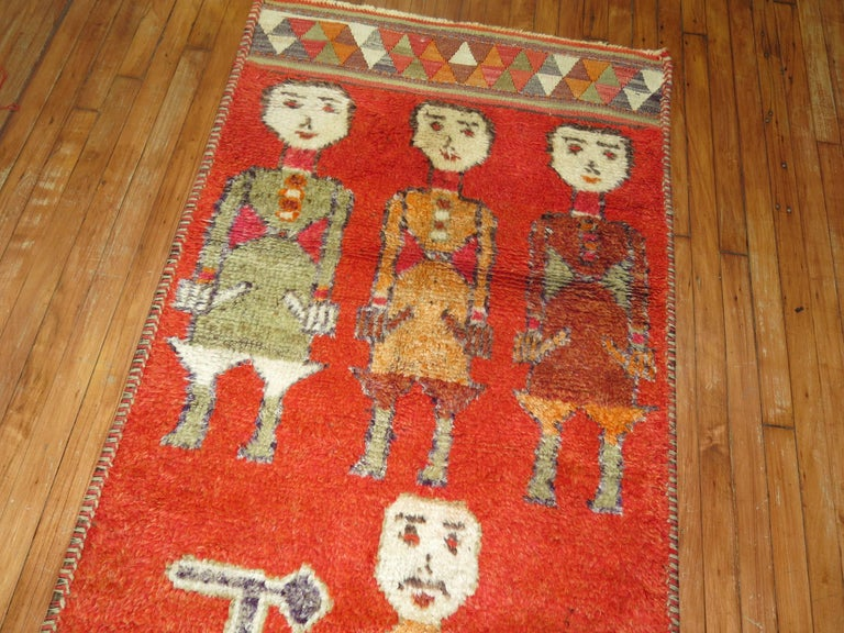 Pictorial Human Horse Vintage South Persian Runner For Sale 1