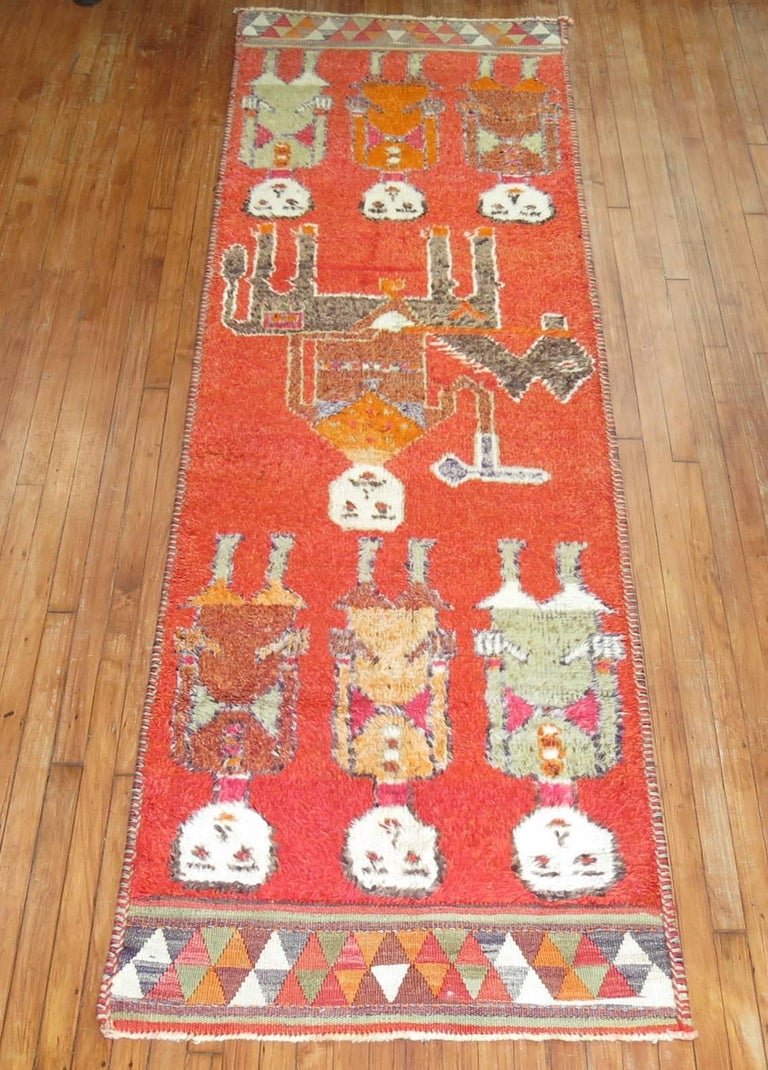 Pictorial Human Horse Vintage South Persian Runner For Sale 2