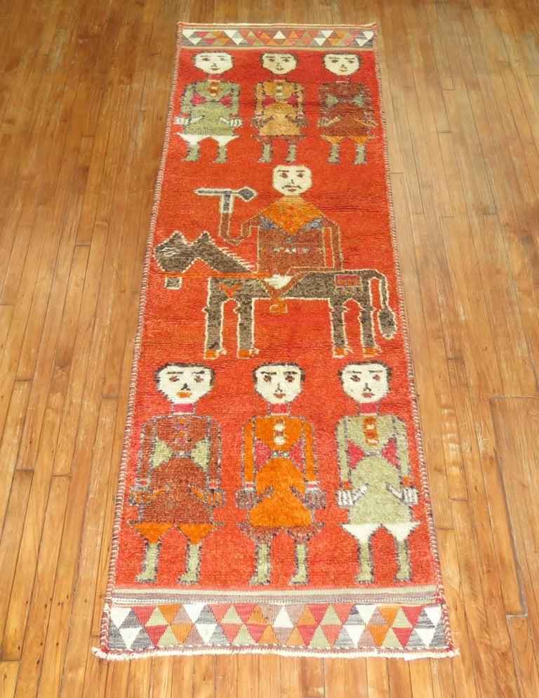Pictorial Human Horse Vintage South Persian Runner For Sale 3