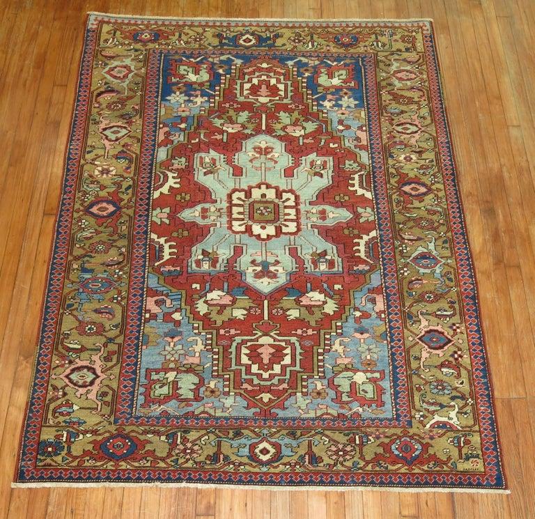 Breathtaking Large Geometric Red 10x12 Bakhtiari Persian: Antique Northwest Persian Serapi Rug For Sale At 1stdibs