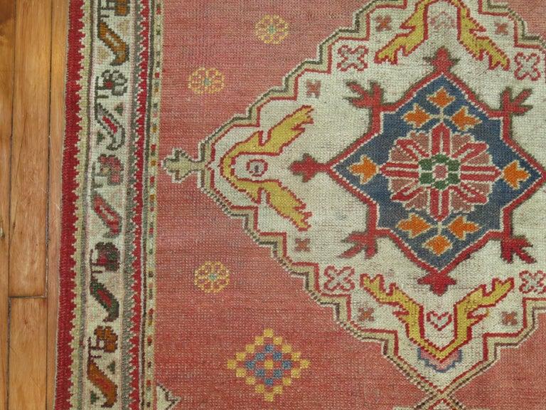 Sporting Art Vintage Turkish Oushak Rug For Sale