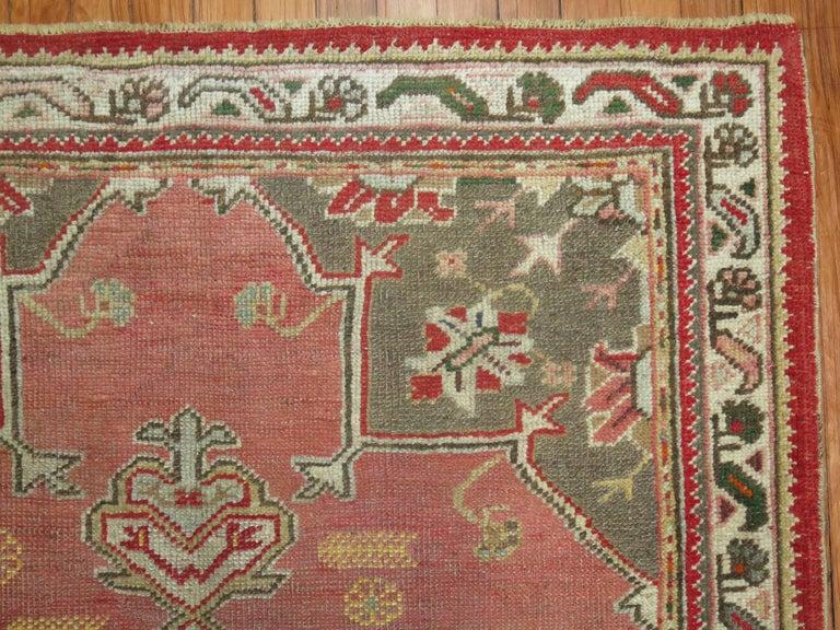 Hand-Woven Vintage Turkish Oushak Rug For Sale