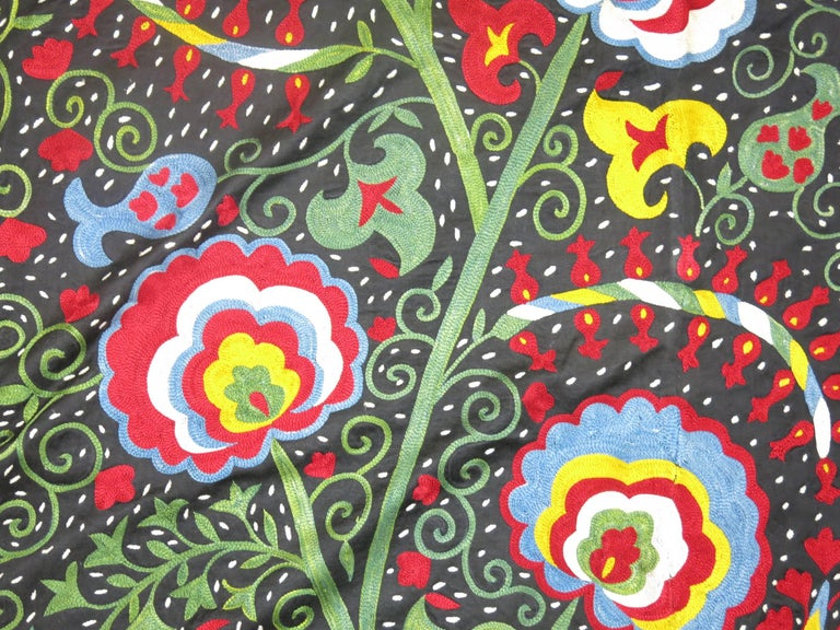 Black Forest Beautiful Colorful Vintage Inspired Suzani Embroidery For Sale
