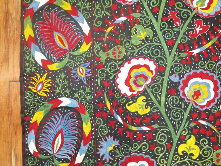 Beautiful Colorful Vintage Inspired Suzani Embroidery For Sale 2