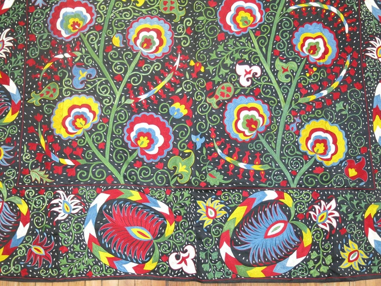 Beautiful Colorful Vintage Inspired Suzani Embroidery For Sale 3