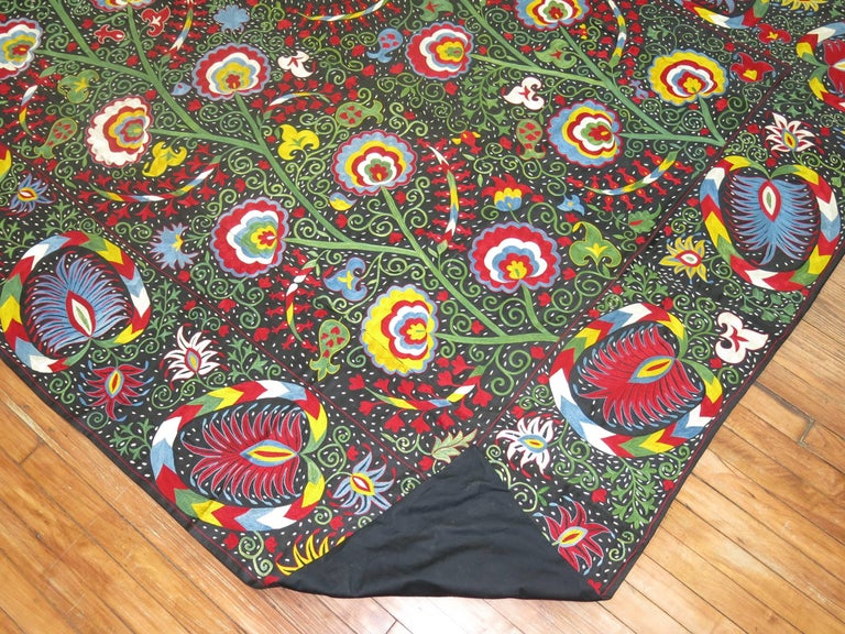 Cotton Beautiful Colorful Vintage Inspired Suzani Embroidery For Sale