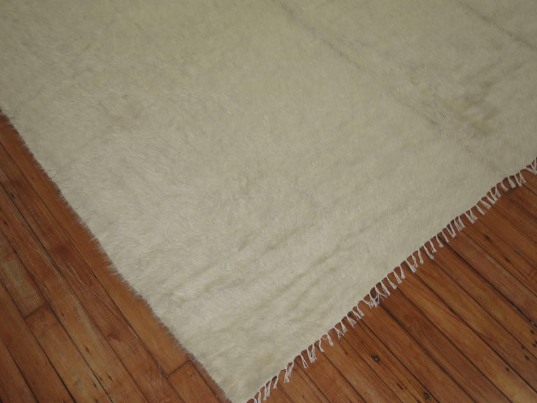 Ivory Vintage Mohair Rug For Sale 1