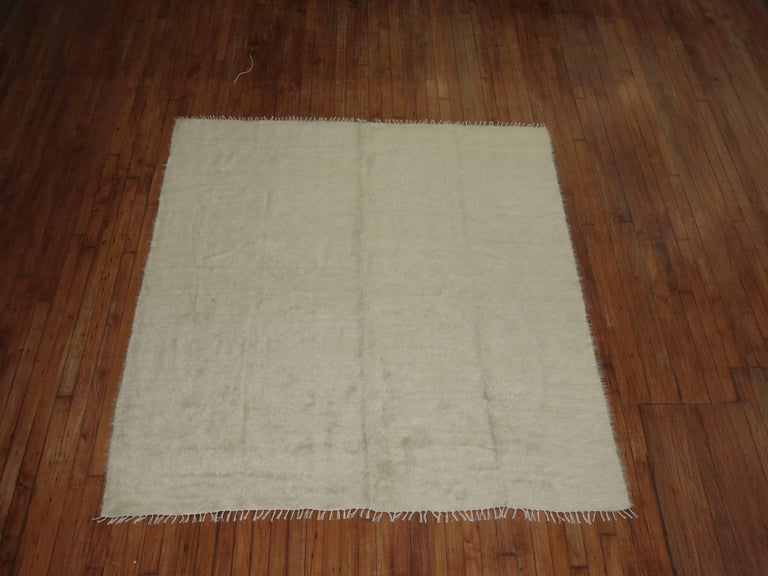 Square Size Vintage Mohair Wool Rug