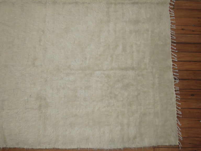 20th Century Ivory Vintage Mohair Rug For Sale