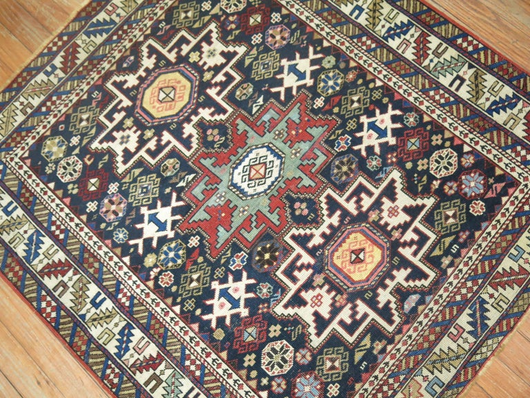 Hand-Woven Caucasian Shirvan Square Rug For Sale