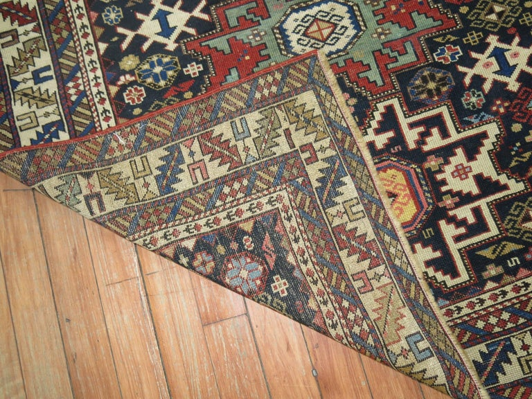 Caucasian Shirvan Square Rug In Excellent Condition For Sale In New York, NY