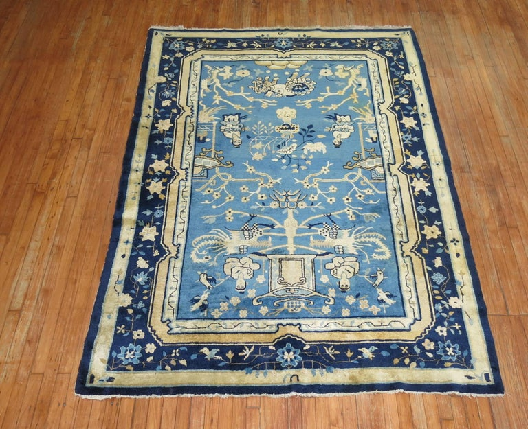 Blue Chinese Pictorial Antique Peking Rug For Sale 4
