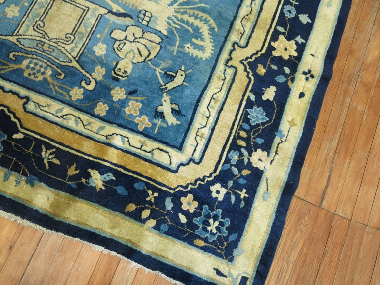 Blue Chinese Pictorial Antique Peking Rug In Good Condition For Sale In New York, NY