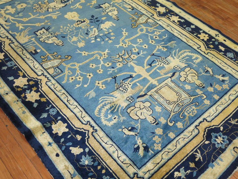 Blue Chinese Pictorial Antique Peking Rug For Sale 3