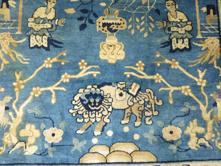 Blue Chinese Pictorial Antique Peking Rug For Sale 2