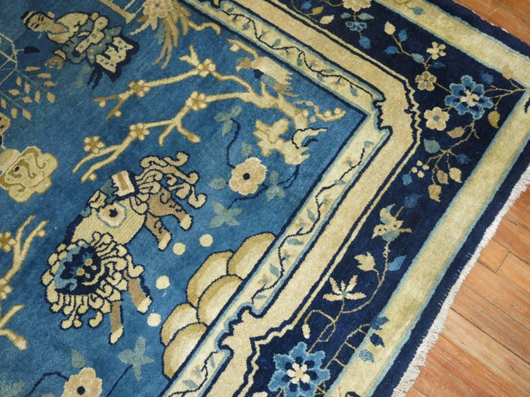 Blue Chinese Pictorial Antique Peking Rug For Sale 1