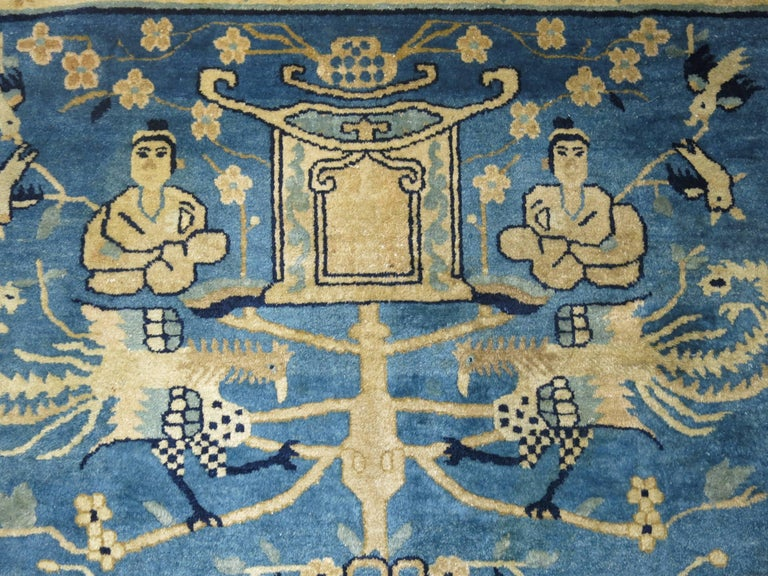 Wool Blue Chinese Pictorial Antique Peking Rug For Sale