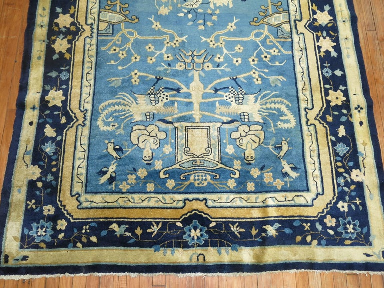 Hand-Woven Blue Chinese Pictorial Antique Peking Rug For Sale