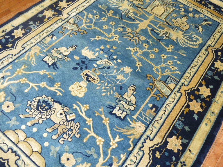 Phenomenal Rare Size Chinese Peking rug in beautiful Blue Color.   6' x 8'6''  This is a one of a kind antique rug hand woven of 100% wool in China around the early 20th century. This rug was personally selected for the combination of excellent