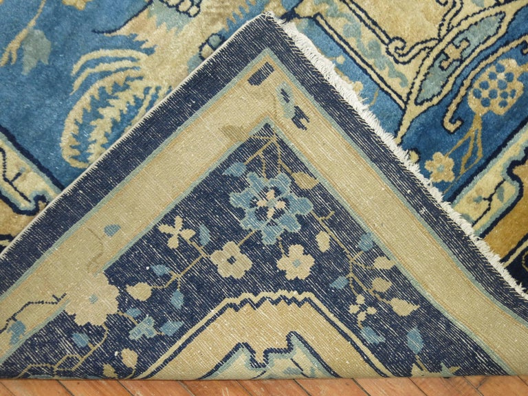 20th Century Blue Chinese Pictorial Antique Peking Rug For Sale