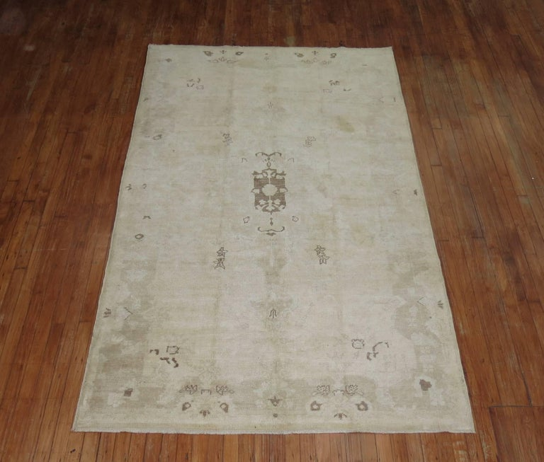 Modern Vintage Turkish Oushak Rug For Sale