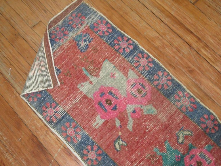 20th Century Dated Turkish Shabby Chic Floral Narrow Runner  For Sale
