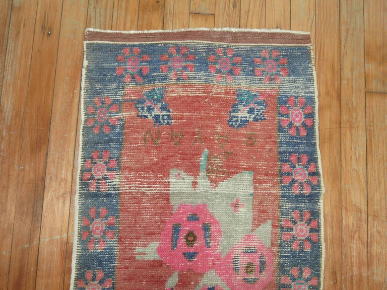 Hand-Knotted Dated Turkish Shabby Chic Floral Narrow Runner  For Sale