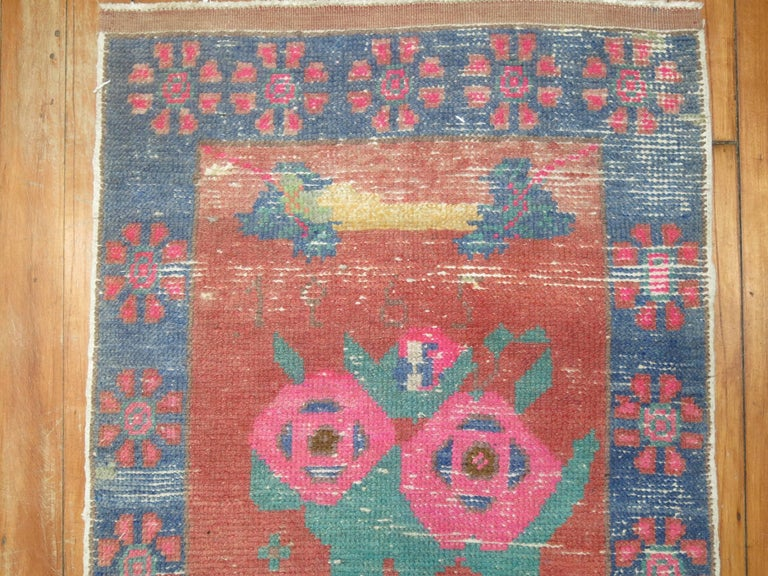 Wool Dated Turkish Shabby Chic Floral Narrow Runner  For Sale