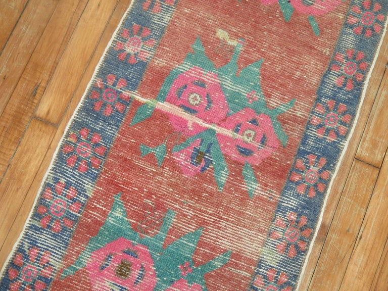 Vienna Secession Dated Turkish Shabby Chic Floral Narrow Runner  For Sale