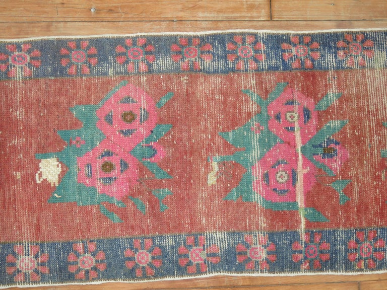 Dated Turkish Shabby Chic Floral Narrow Runner  In Good Condition For Sale In New York, NY