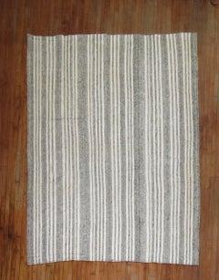 Vintage Turkish Kilim Room Size Flat-Weave Rug