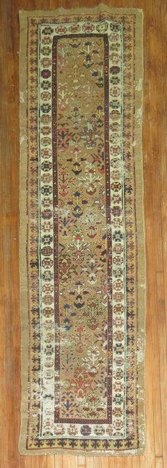 Antique Persian Bakshaish Shabby Chic Runner in Camel Tones