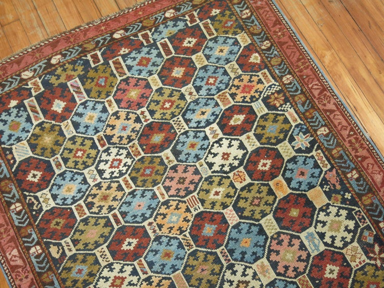 Early 20th Century Antique Caucasian Kuba Rug For Sale