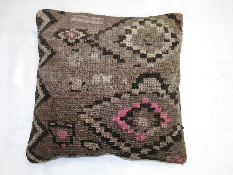 Turkish Kars Rug Pillow In Excellent Condition For Sale In New York, NY