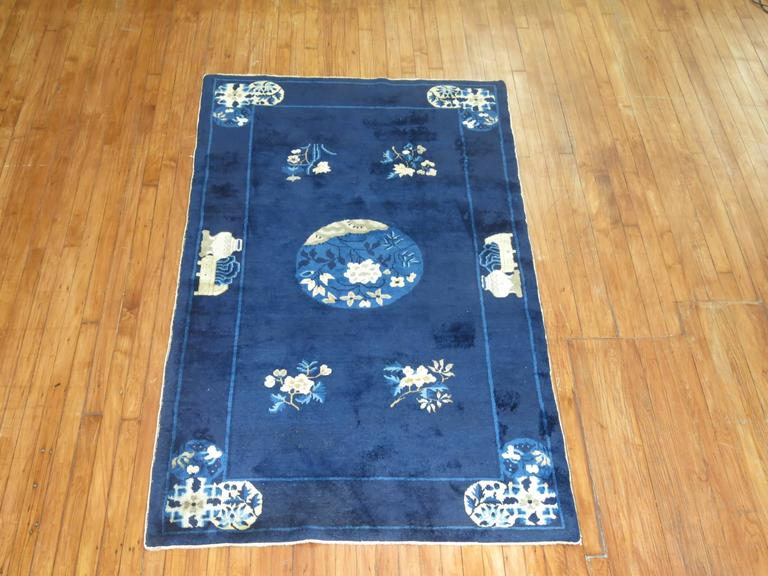 Hand-Woven Navy Blue Ivory Traditional Chinese Peking Rug For Sale