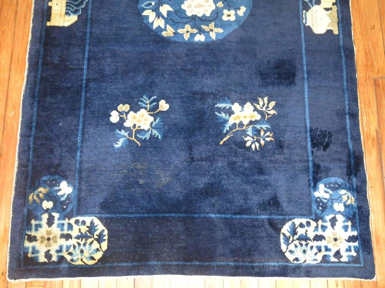 Wool Navy Blue Ivory Traditional Chinese Peking Rug For Sale