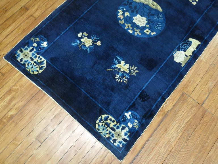 Navy Blue Ivory Traditional Chinese Peking Rug In Good Condition For Sale In New York, NY