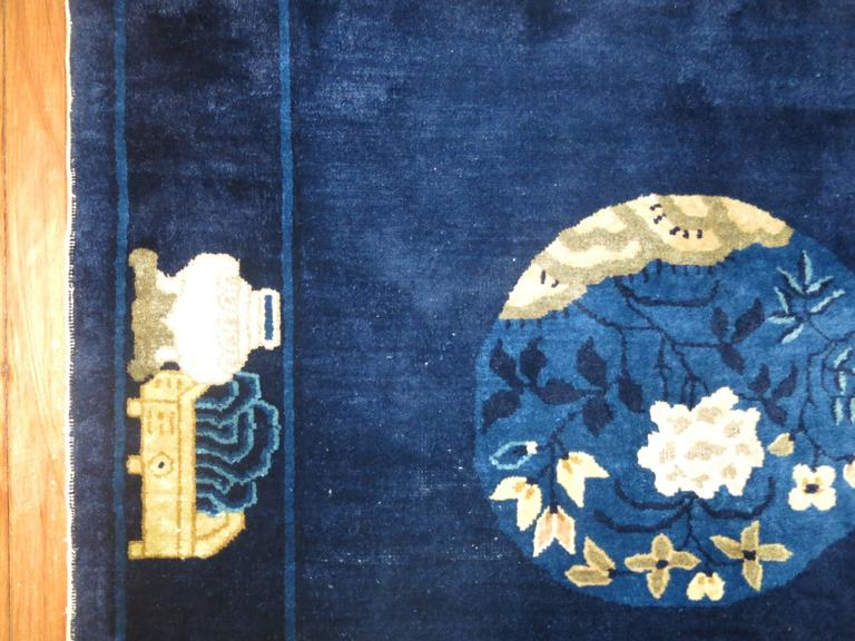 Chinoiserie Navy Blue Ivory Traditional Chinese Peking Rug For Sale