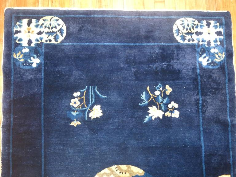 20th Century Navy Blue Ivory Traditional Chinese Peking Rug For Sale