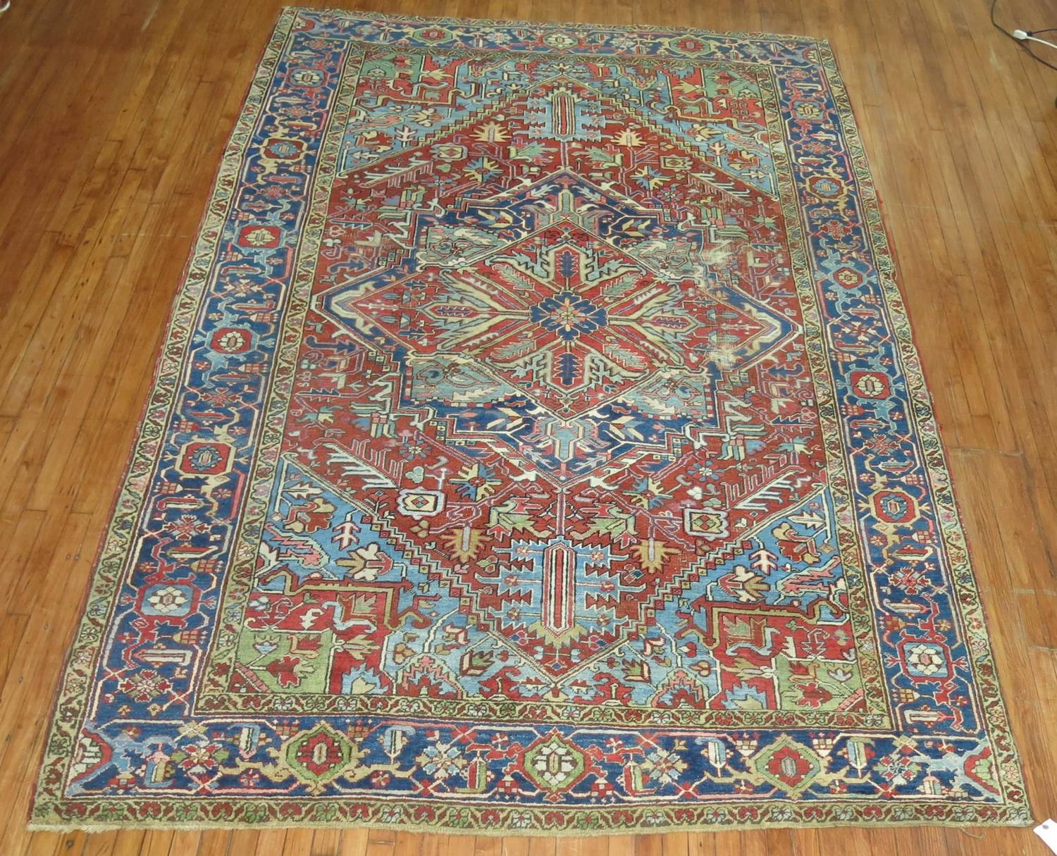 French Oriental Rugs : Antique heriz carpet with french blue corners at stdibs