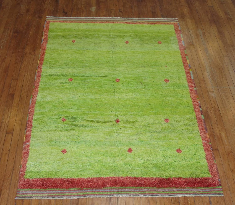 Lime Green Vintage Turkish Tulu Pile Rug For Sale At 1stdibs