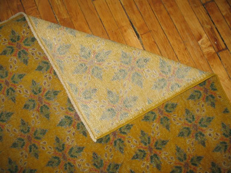 Turkish Vintage Yellow Anatolian Rug For Sale