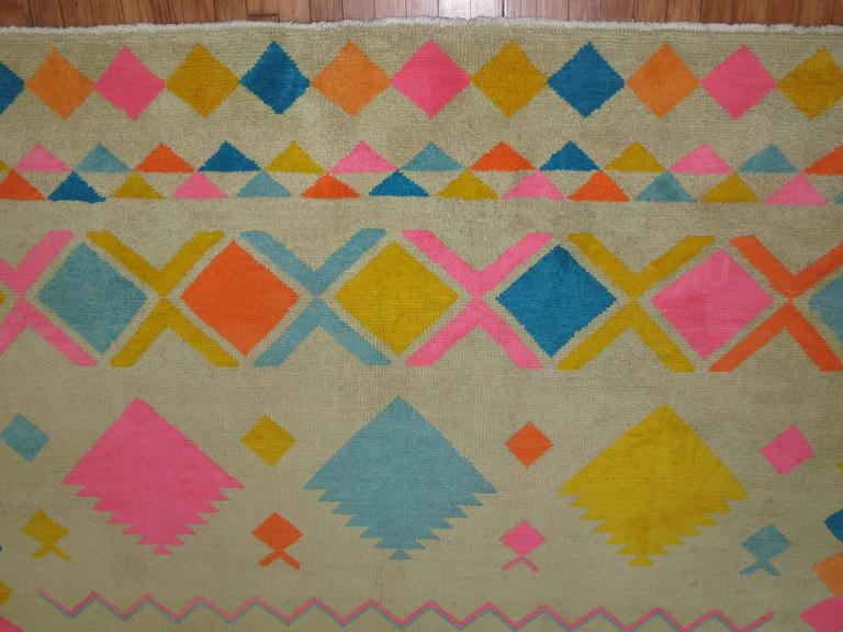 20th Century Eclectic Vintage Turkish Rug For Sale