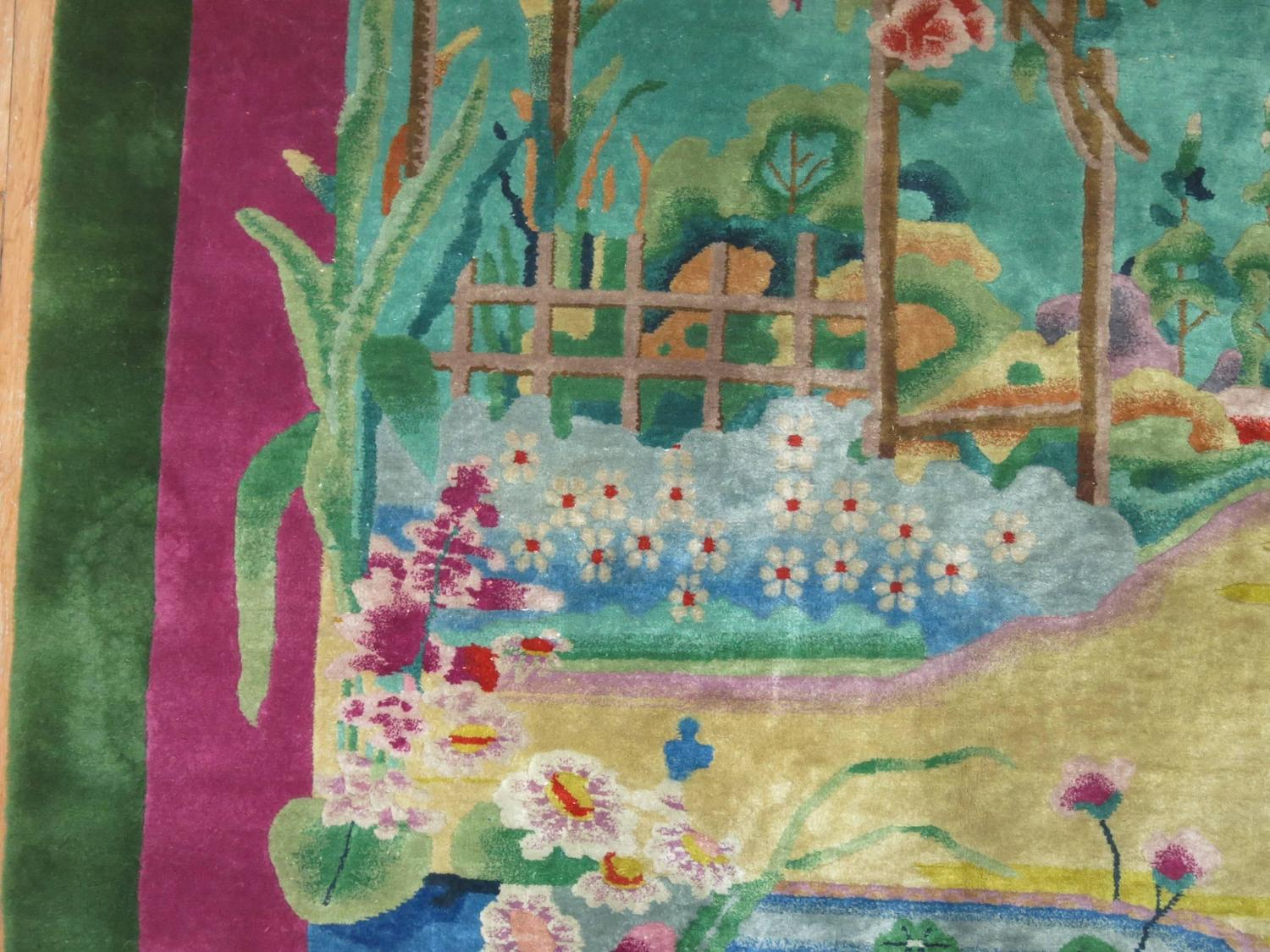 Antique Chinese Art Deco Rug With Landscape Scenery For