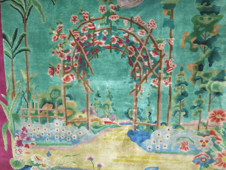 Antique Chinese Art Deco Rug With Landscape Scenery At 1stdibs