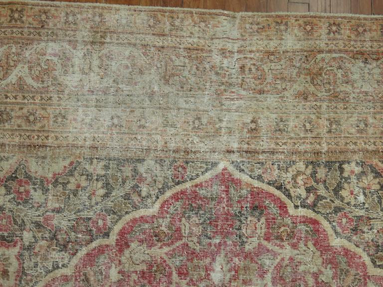 Shabby Chic Persian Tabriz Rug In Distressed Condition For Sale In New York, NY