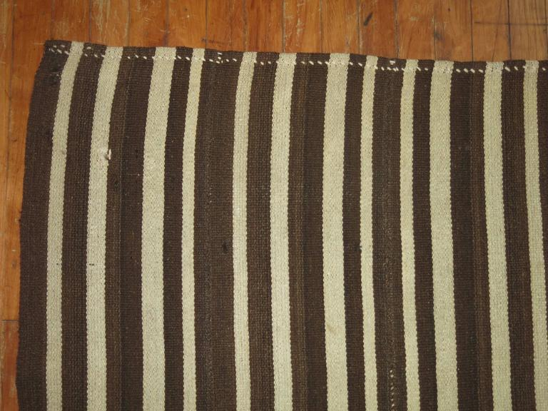 20th Century Vintage Striped Kilim For Sale